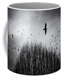 Birds Over Bush Coffee Mug