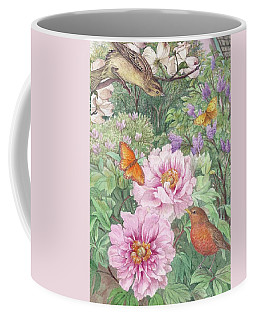 Coffee Mug featuring the painting Birds Peony Garden Illustration by Judith Cheng