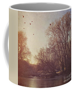 Coffee Mug featuring the photograph Birds Take Flight Over Lake On A Winters Morning by Lyn Randle