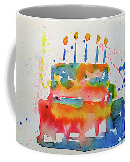Coffee Mug featuring the painting Birthday Blue Cake by Claire Bull