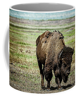Coffee Mug featuring the photograph Bison Bird Bus by Mary Hone