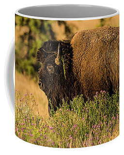 Bison Bull In Wildflowers Coffee Mug by Yeates Photography
