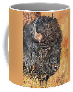 Coffee Mug featuring the painting Bison by David Stribbling