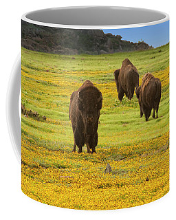 Bison In Wildflowers Coffee Mug