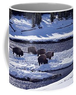 Bison On River Strand Landscape Coffee Mug
