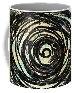 Coffee Mug featuring the painting Black And White Abstract Curves by Joan Reese