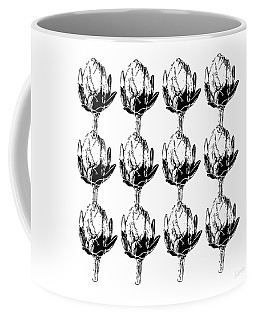 Coffee Mug featuring the mixed media Black And White Artichokes- Art By Linda Woods by Linda Woods
