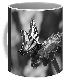 Black And White Butterfly On Zinnia Coffee Mug