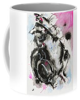 Coffee Mug featuring the painting Black And White Cat Sleeping by Zaira Dzhaubaeva