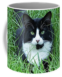 Black And White Cat With Green Eyes Coffee Mug
