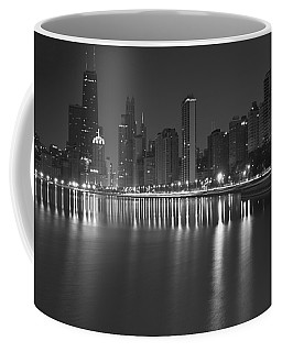 Black And White Chicago Skyline At Night Coffee Mug