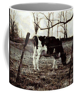 Coffee Mug featuring the photograph Black And White - Cow In Pasture - Vintage by Janine Riley