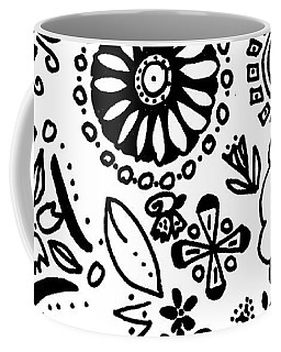 Black And White Floral Doodle Coffee Mug