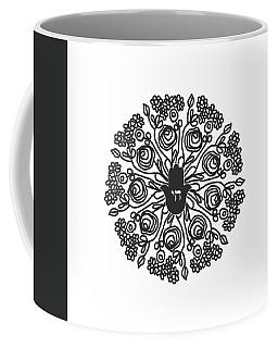 Black And White Hamsa Mandala- Art By Linda Woods Coffee Mug