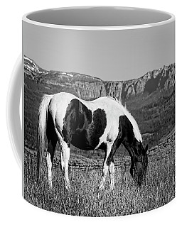 Black And White Horse Grazing In Wyoming In Black And White  Coffee Mug