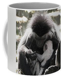 Black And White Image Of Colobus Monkeys Coffee Mug
