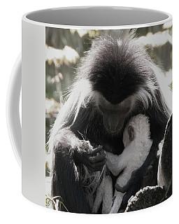Black And White Image Of Colobus Monkeys Coffee Mug