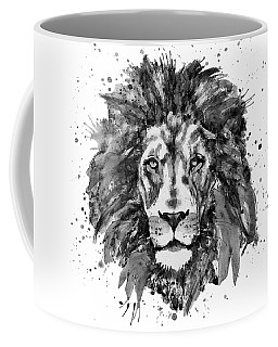 Coffee Mug featuring the mixed media Black And White Lion Head  by Marian Voicu