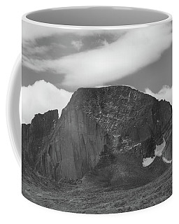 Coffee Mug featuring the photograph Black And White Longs Peak Detail by Dan Sproul