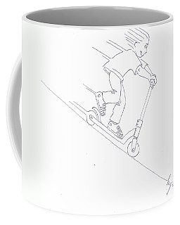 Black And White Micro Scooter Downhill Drawing Coffee Mug