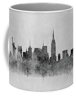 Coffee Mug featuring the digital art Black And White New York Skylines Splashes And Reflections by Georgeta Blanaru