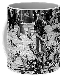Black And White Of Boy Feeding Pigeons In Sarajevo, Bosnia And Herzegovina  Coffee Mug