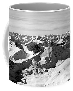Black And White Of The Summit Of Mount Elbert Colorado In Winter Coffee Mug