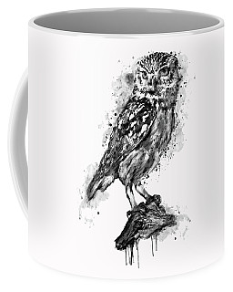 Coffee Mug featuring the mixed media Black And White Owl by Marian Voicu