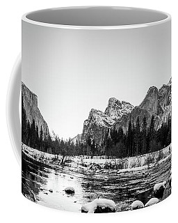Coffee Mug featuring the photograph Black And White Panorama Of Yosemite Park With El Capital In The by PorqueNo Studios