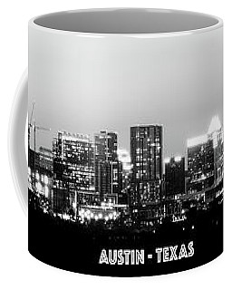 Black And White Panoramic View Of Downtown Austin Coffee Mug