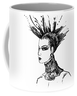Coffee Mug featuring the digital art Black And White Punk Rock Girl by Marian Voicu