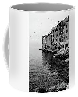 Black And White - Rovinj Venetian Buildings And Adriatic Sea, Istria, Croatia Coffee Mug