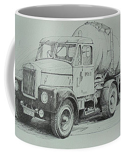 Coffee Mug featuring the drawing Black And White Scammell. by Mike Jeffries