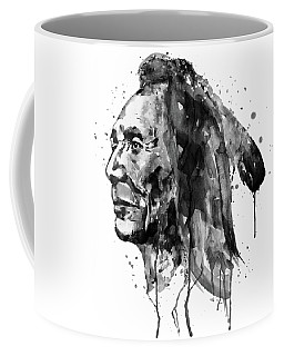 Coffee Mug featuring the mixed media Black And White Sioux Warrior Watercolor by Marian Voicu