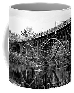 Coffee Mug featuring the photograph Black And White - Strawberry Mansion Bridge - Philadelphia by Bill Cannon