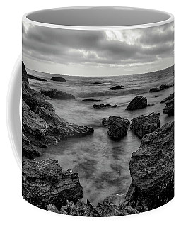 Black And White Sunset At Low Tide Coffee Mug
