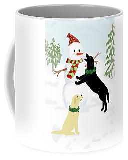 Black And Yellow Labs With Snowman Coffee Mug