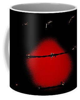 Black Barbed Wire Over Black And Blood Red Background Eery Imprisonment Scene Coffee Mug