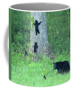 Black Bear Sow And Four Cubs Coffee Mug