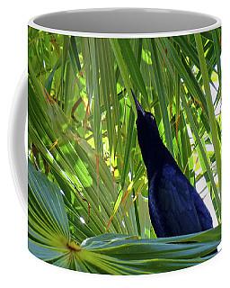 Coffee Mug featuring the photograph Black Bird And Green Leaf by Francesca Mackenney