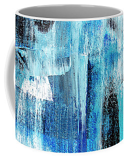 Coffee Mug featuring the painting Black Blue Abstract Painting by Christina Rollo