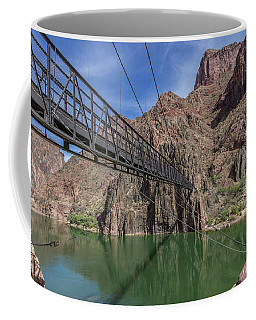 Black Bridge Over The Colorado River At Bottom Of Grand Canyon Coffee Mug
