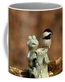 Black-capped Chickadee And Frog Coffee Mug by Sheila Brown