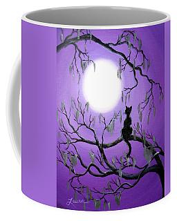 Black Cat In Mossy Tree Coffee Mug