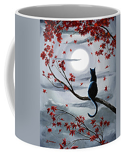 Black Cat In Silvery Moonlight Coffee Mug