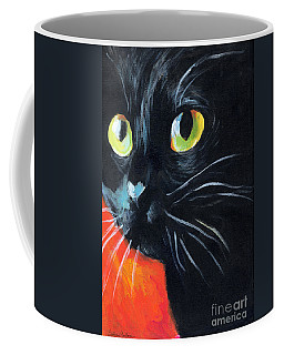 Black Cat Painting Portrait Coffee Mug
