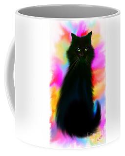 Coffee Mug featuring the painting Black Cat Rainbow Sky by Nick Gustafson