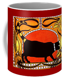 Black Cat With Floral Motif Of Art Nouveau By Dora Hathazi Mendes Coffee Mug