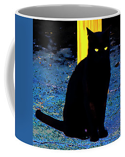 Black Cat Yellow Eyes Coffee Mug