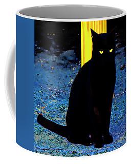 Black Cat Yellow Eyes Coffee Mug